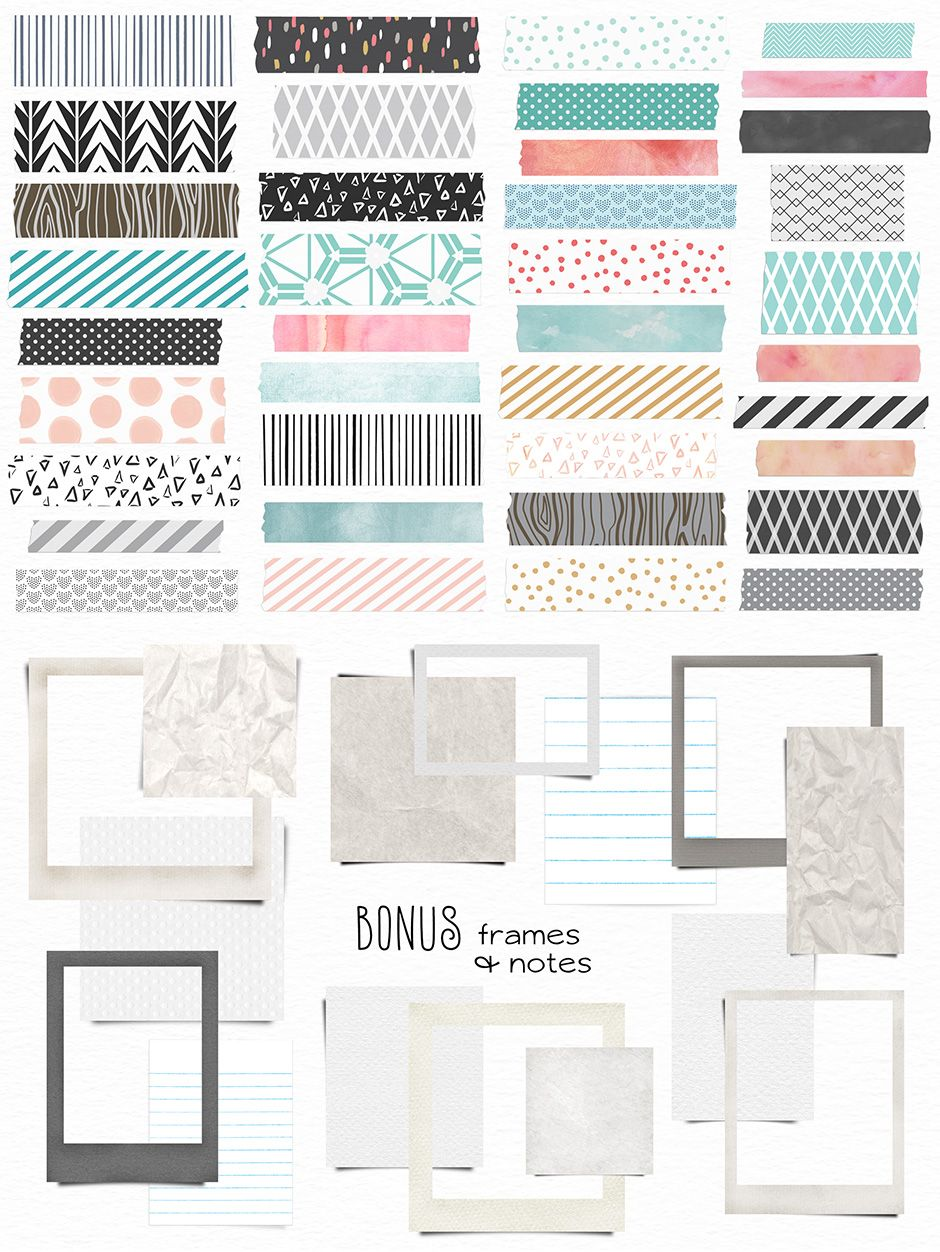 washi tape frames and notes photoshop resources in 2018 washi