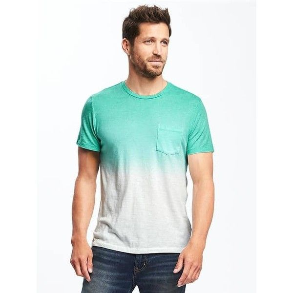 Old Navy Mens Dip Dye Slub Knit Pocket Tee ($17) ❤ liked on Polyvore  featuring men's fashion, men's clothing, men's shirts, men's t-shirts,  pretty mint ...