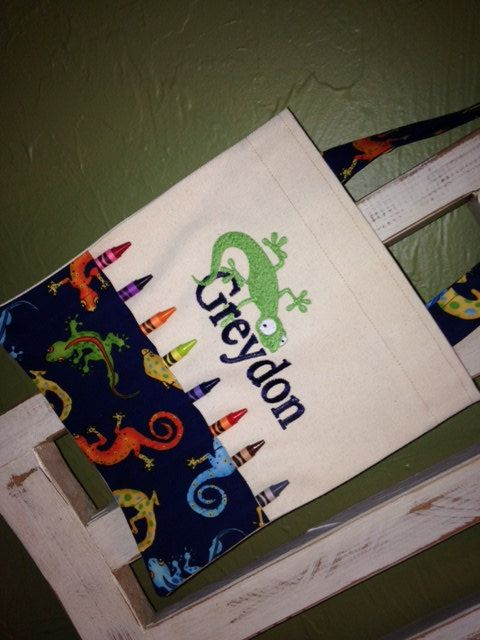 Lizard Personalized Crayon Bag by BabyPaige on Etsy