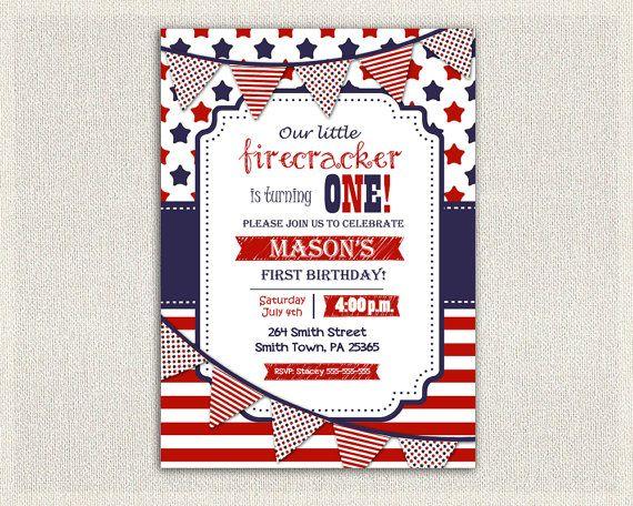 Fourth of July Birthday Invitation Gender Neutral Boy Girl First Birthday Invitation Custom Invite 4