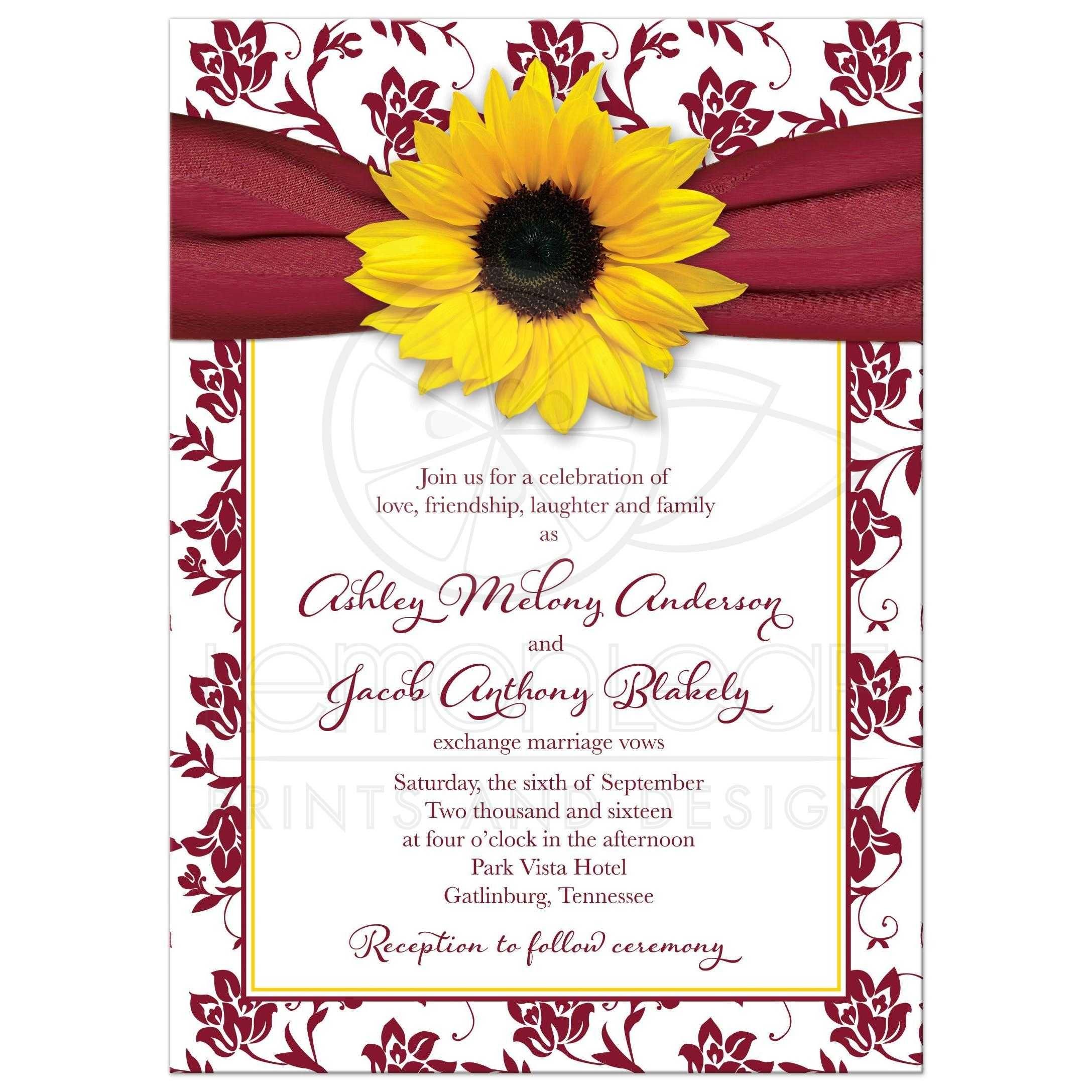 Fall Sunflower Wedding Invitation Burgundy Yellow