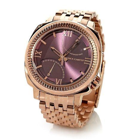 Der Vince Camuto Men S Rosetone Wine Dial Bracelet Watch