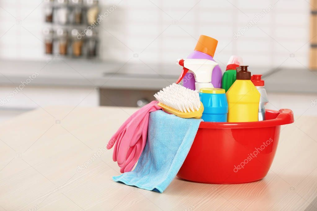 Set Cleaning Supplies Table Kitchen Space Text Stock Photo Ad Supplies Table Set Cleaning Ad Cleaning Supplies Cleaning Space Text
