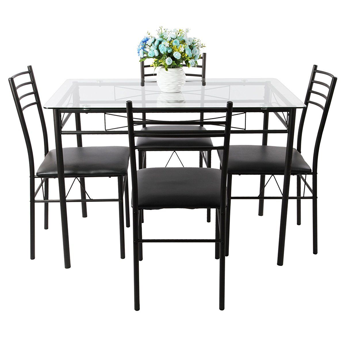 Vecelo Dining Table With 4 Chairs Black Black Dining Table Set Dining Table Dining Table Legs