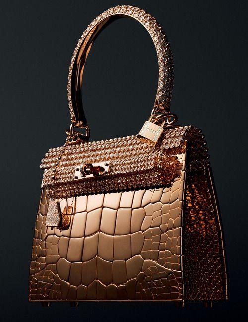 956d74766 edição limitada da Hermes, couro de crocodilo e diamantes. Bolsa, Bolsas  Douradas,