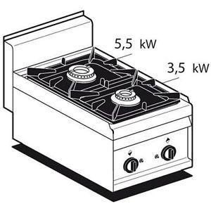 Piano Cottura A Gas Mod Pc 4g N 2 Fuochi L40xp65xh29 Eur 764