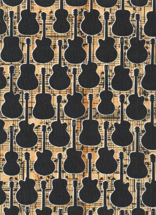 GUITAR Sheet Music Quilt Fabric ~ Black Guitars at #fabric4you ... : music quilt fabric - Adamdwight.com