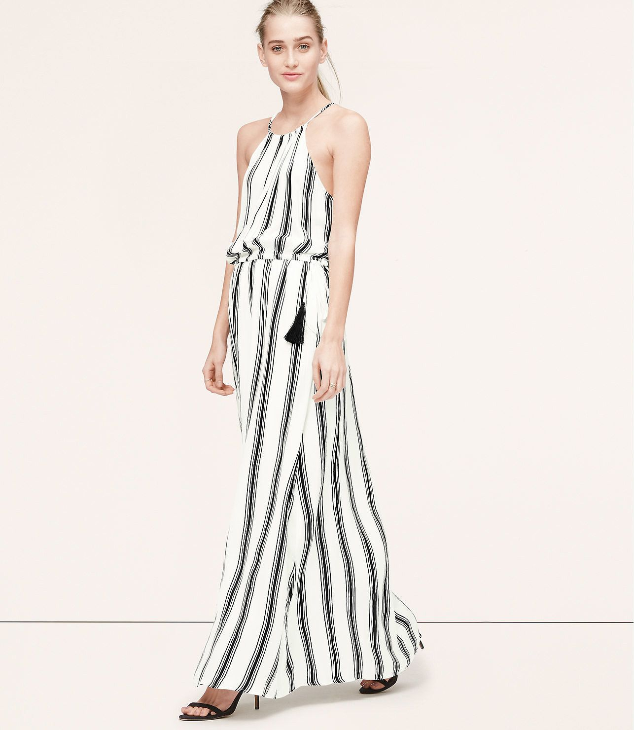 Loft-Stripe-Tasseled-Halter-Maxi-Dress | Striped Maxi Dress ...
