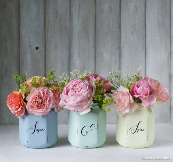 kreidefarben marmeladegl ser vintage vasen dekoratives f r dein zuhause vase kreidefarbe. Black Bedroom Furniture Sets. Home Design Ideas