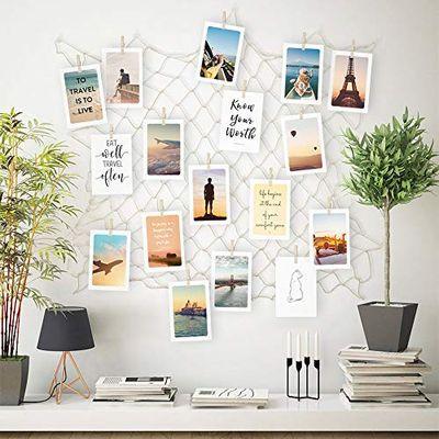 ecooe Foto hängende Wanddekoration Collage DIY Bilderrahmen Wanddekoration, Grö�e S Fischernetz mit 40 Holzklammern und 10 spurlosen Nägeln Fotoaufhängung 60 * 60cm(wenn komplett auseinandergezogen) - 1