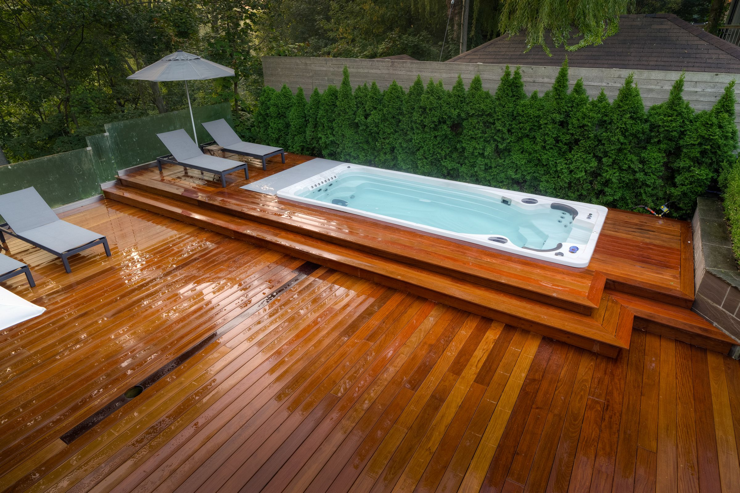 Swimming Pool Deck Cleaning : Hydropool self cleaning swim spa installed into a deck