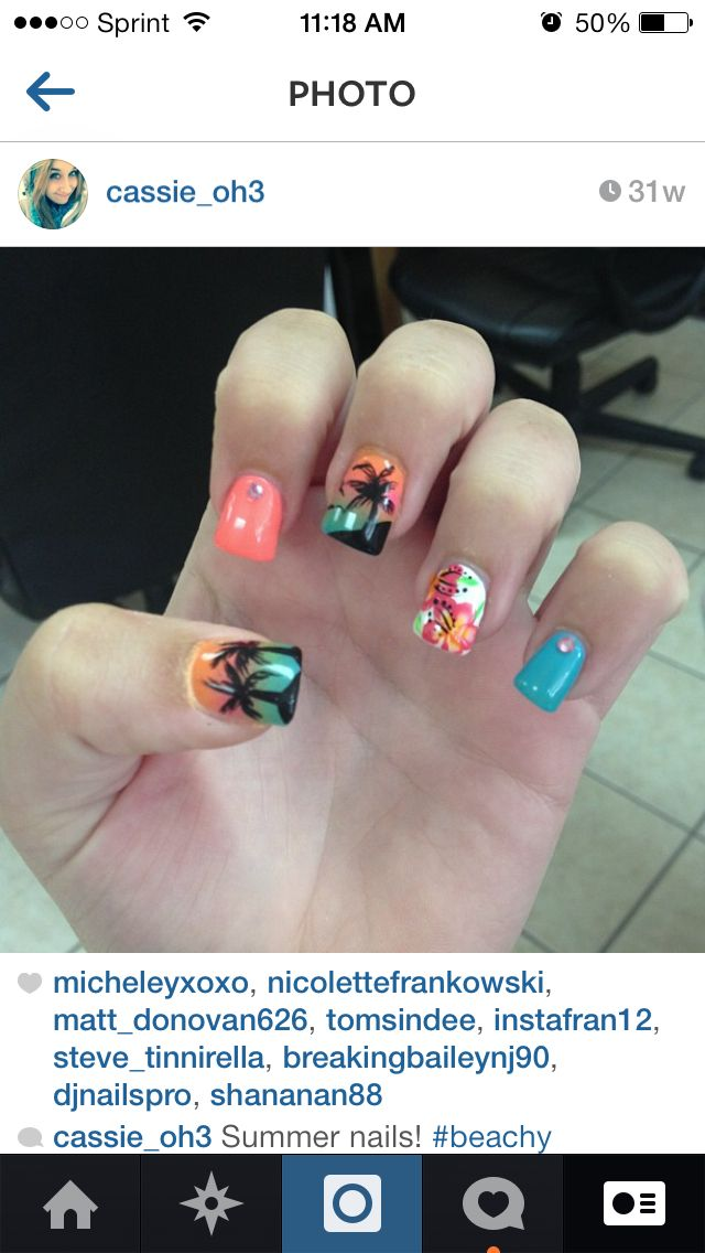 Mine, beach nails, summer nails, palmtrees, sunsets