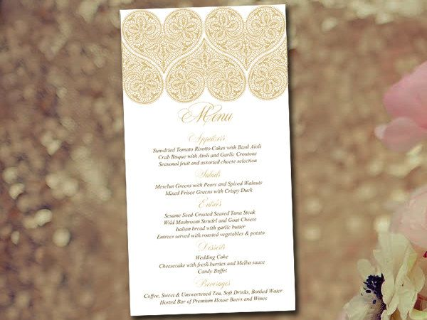 Heart Wedding Menu Template Instant Download - Gold Menu Printable ...