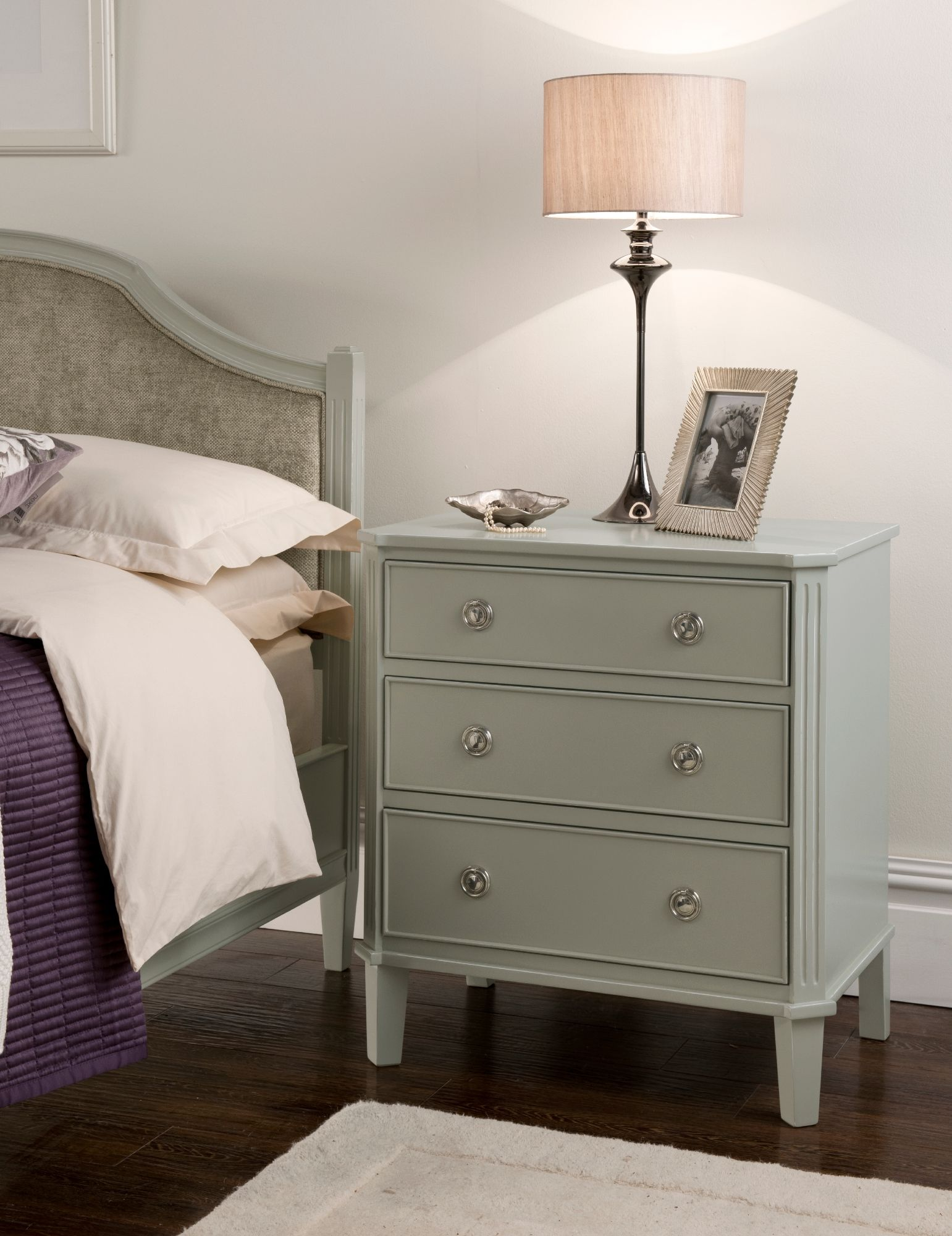 Light Grey Bedside Table: French Grey Painted Bedside Table Produced In Solid Wood