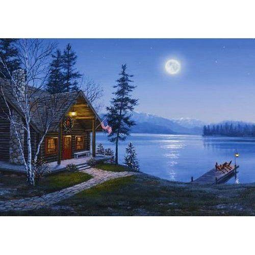 Christmas At The Lake: NRA Lake Cabin Scene Christmas Card: Health