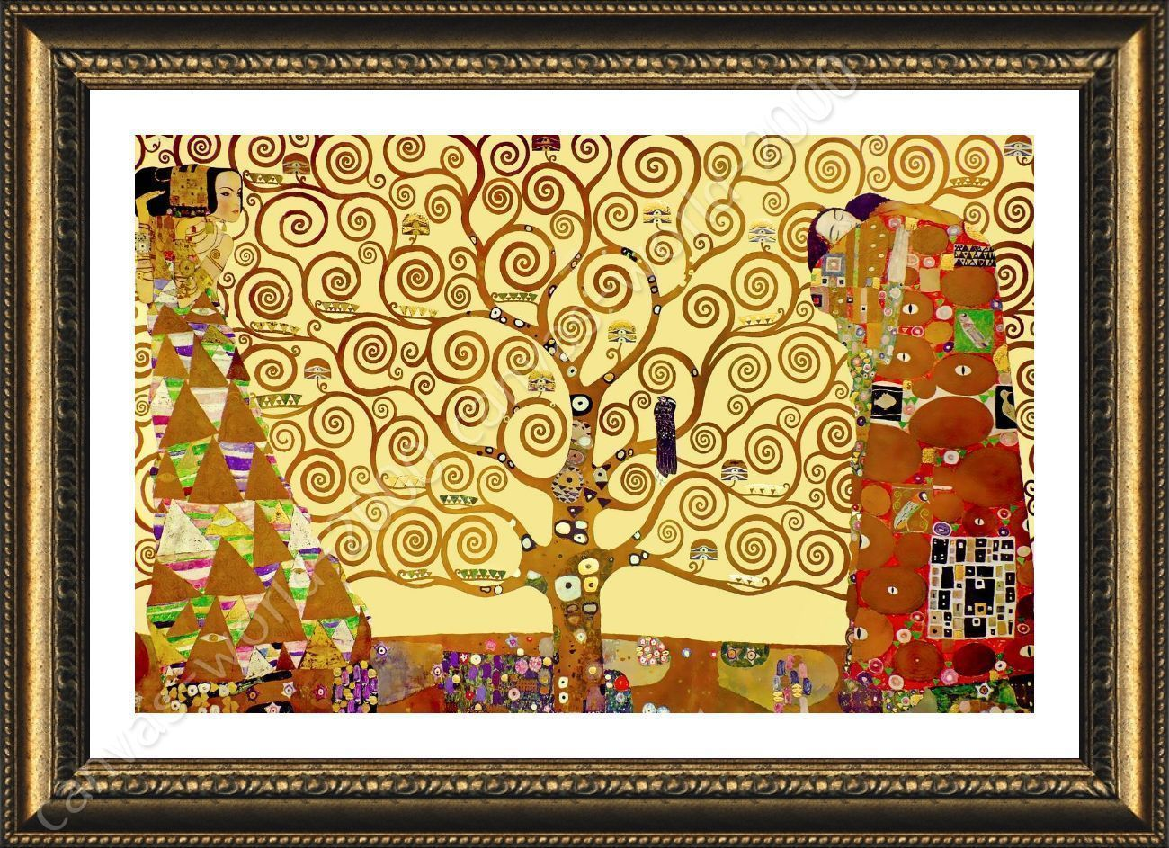 Framed Poster Tree Of Life Yellow Gustav Klimt Oil Painting Print ...