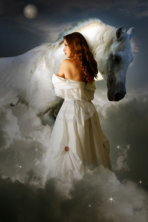 a white horse and a red haired woman   young girl wearing ...