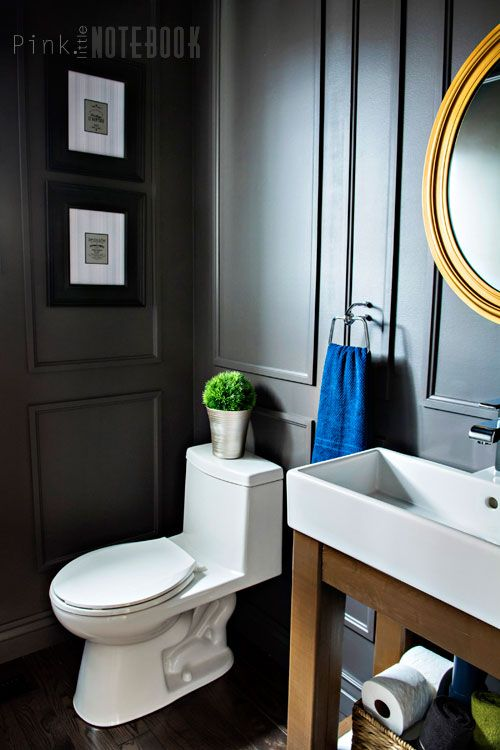 Reveal Dated Powder Room Gets A Moody Makeover