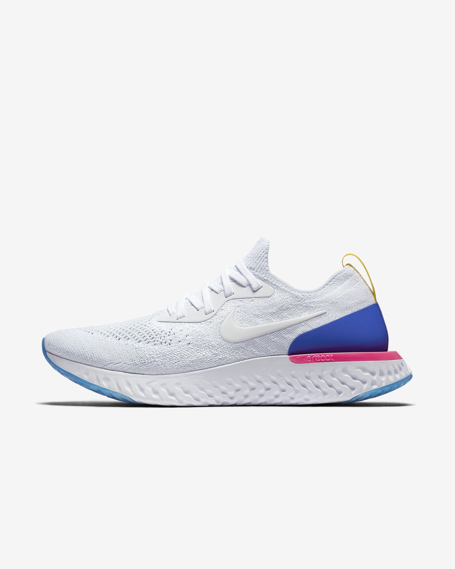 3b41e5b0a14 Cheapest And Latest Authentic Unisex Couple Nike Epic React Flyknit Mens  Running Shoe White Racer Blue Pink Blast White AQ0067-101