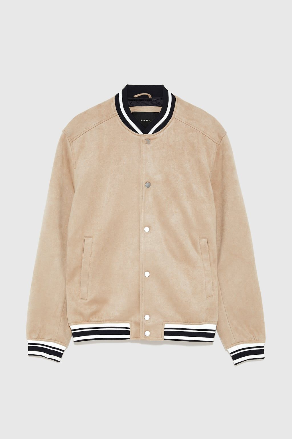 Image 6 Of Faux Suede Varsity Bomber From Zara Suede Faux Suede Varsity [ 1536 x 1024 Pixel ]