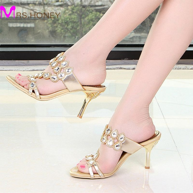 Summer Rhinestone Slippers Gold Pink Wedding Party Shoes Fashion Women High  Heel Sandals Sparkling Prom Shoes Plus size 41-43 806cdc4acc71
