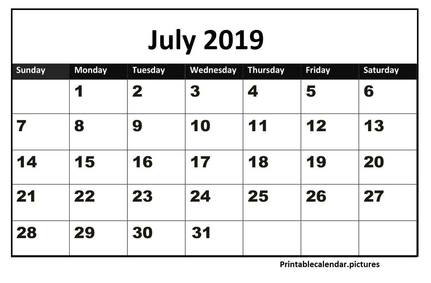 Printable Calendar July 2019 Excel With Images Printable
