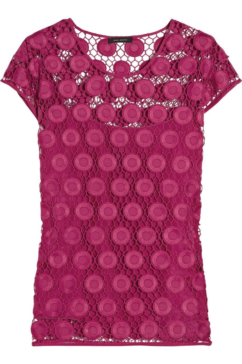 MARC JACOBS  Appliquéd honeycomb-knit cotton top