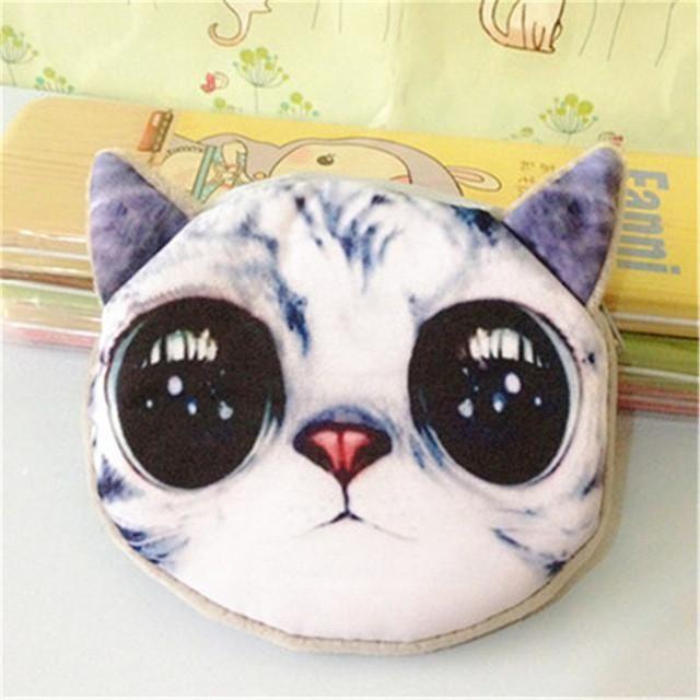 Cartoon Cute Cat Face Zipper Coin Purse Wallet Case Makeup Buggy Bag Pouch