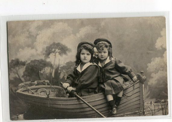 Adorable girls in sailor suits in rowboat by sharonfostervintage, $4.00