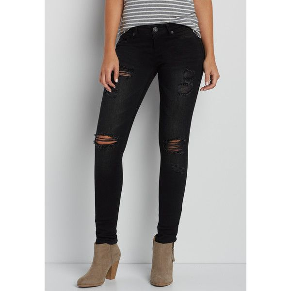 87b02b4251d maurices Denimflex™ Jegging With Destruction In Black, Women's,... ($39) ❤  liked on Polyvore featuring pants, leggings, ripped jeggings, torn leggings,  ...