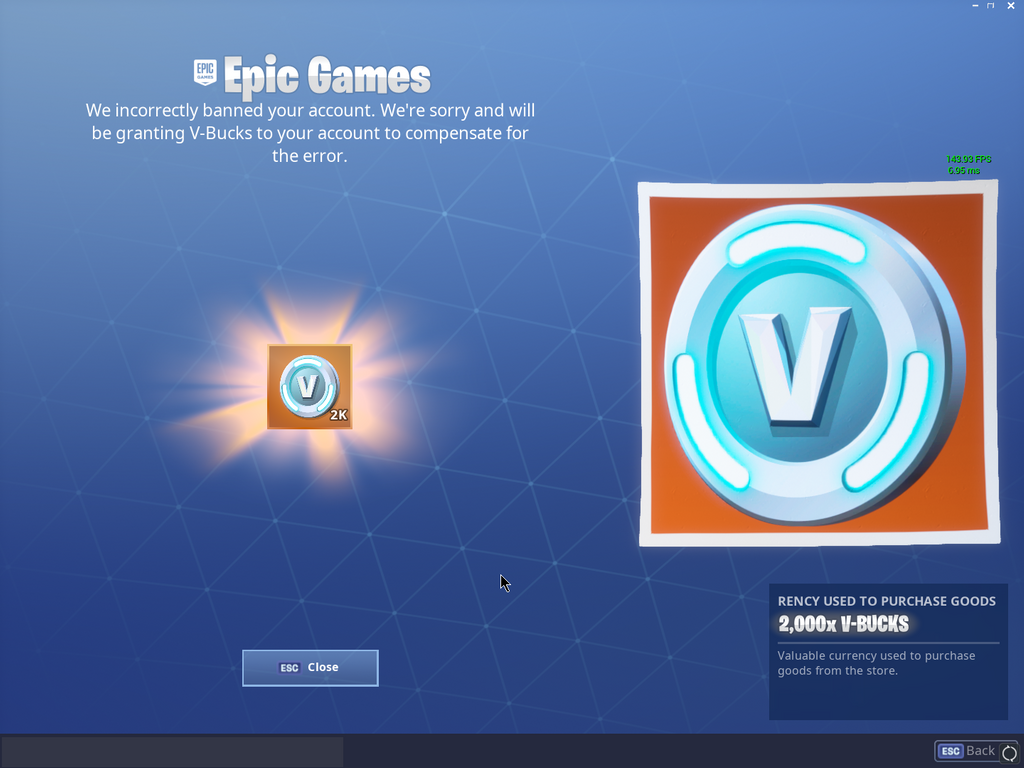 Epic Games Compensating Players that were Incorrectly Banned