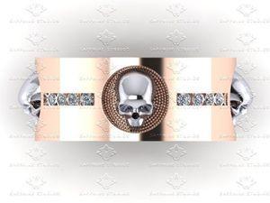 Show details for 'Luna de Saturno' Mens 0.40ct Natural White Diamond Rose Gold Skull Wedding Band Ring