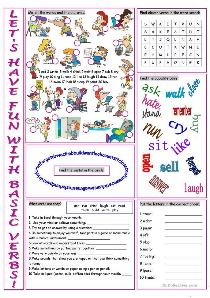 Basic Verbs Vocabulary Exercises Ordinary Vocabulary Exercises