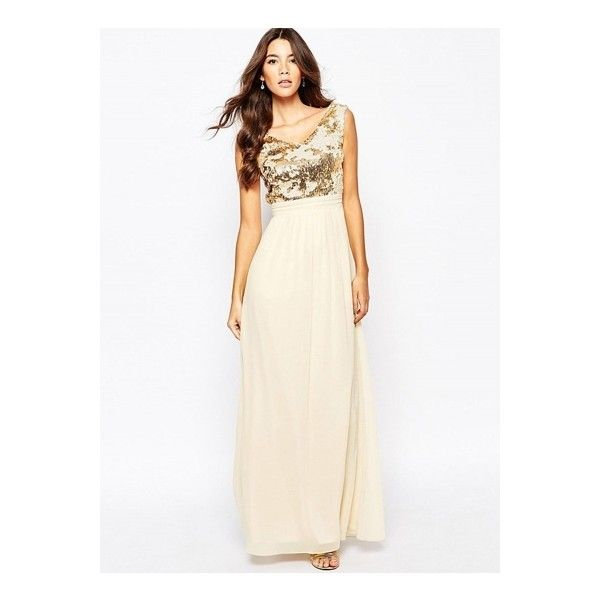 V Neck Sleeveless Sequins Chiffon Long Prom Dress (77 BAM) ❤ liked ...