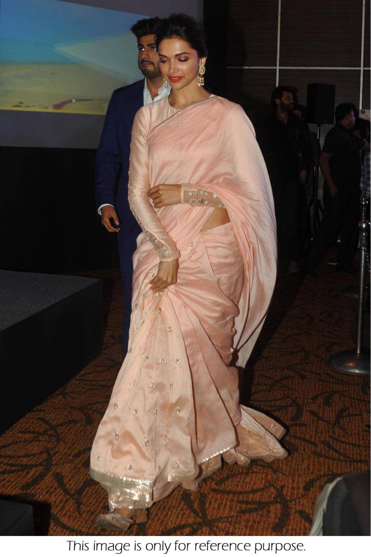 5a106421db Bollywood Style Deepika Padukone Georgette Saree In Baby Pink Colour NC1276