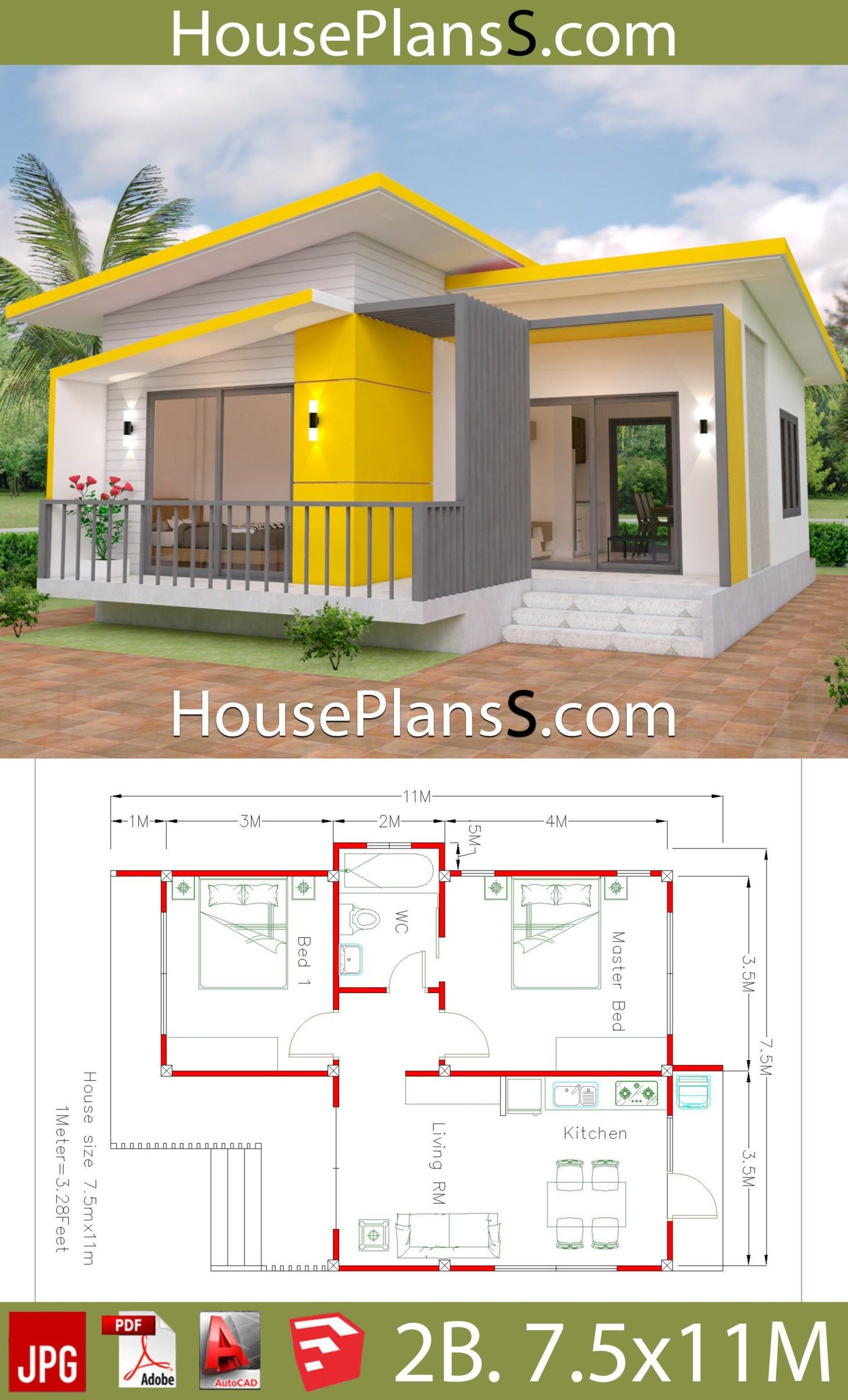 House Plans 7 5x11 With 2 Bedrooms Full Plans House Plans 3d Sims House Plans Small House Design Plans House Plans