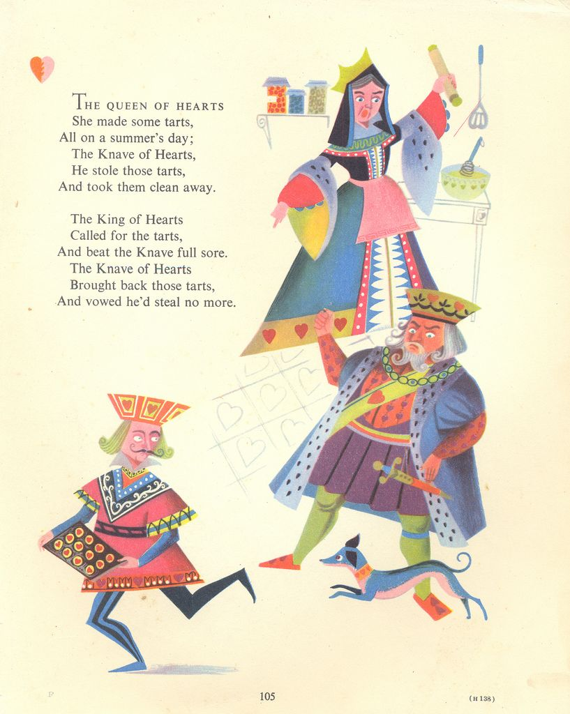 The Queen Of Hearts A Page From Vintage Children S Book Ilrated By Esme Eve Mother Goose Nursery Rhymes