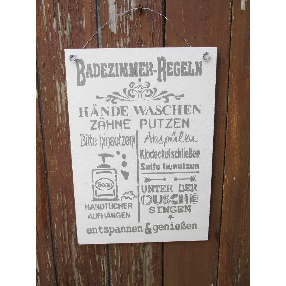 Holzschild Badezimmer Regeln Shabby Deko Landhaus Spruchschild