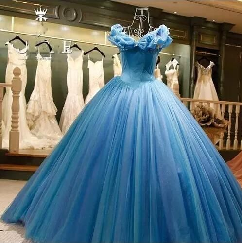 c466b973d1f Real Image Cinderella Ocean Blue Quinceanera Prom Dresses Off Shoulders  Beaded Butterfly Organza Long Backless Ball Gown Evening Party Gowns