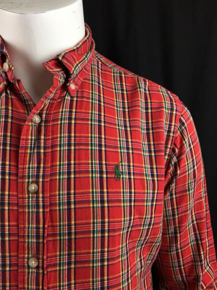 0746add9 Mens Ralph Lauren Classic Fit Red Plaid Flannel Long Sleeve Button Shirt  Medium #RalphLauren #ButtonFront