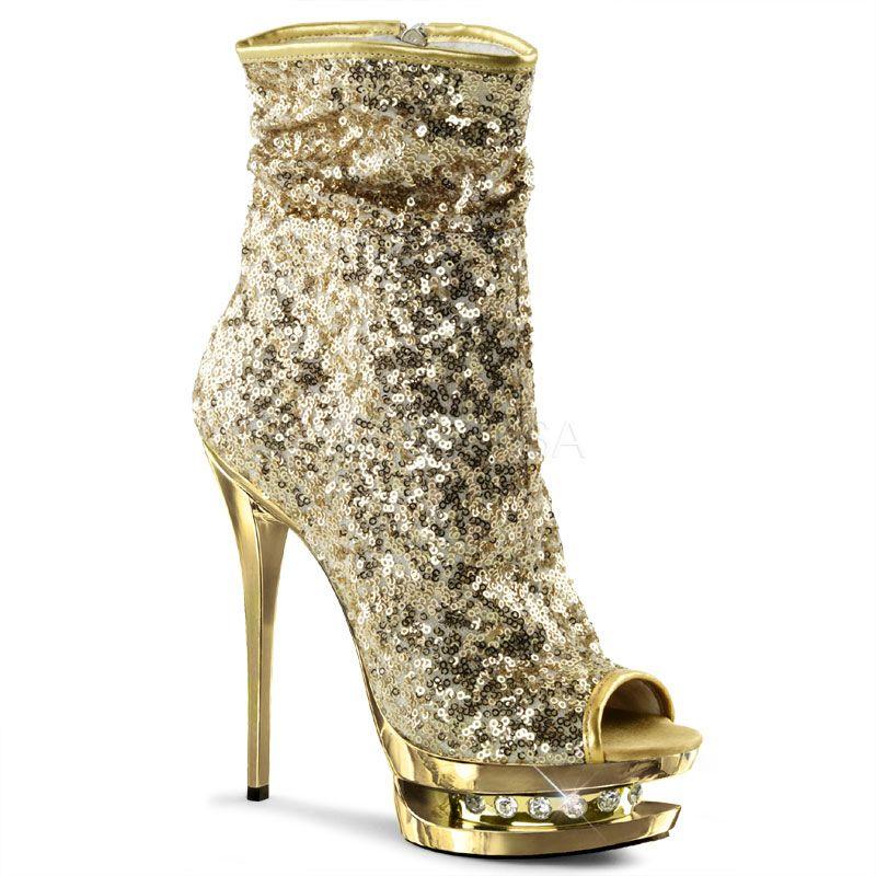 7c3907d5aceb Pleaser Blondie-R-1008 Gold Sequin Ankle Boots   Ladies Shoes ...
