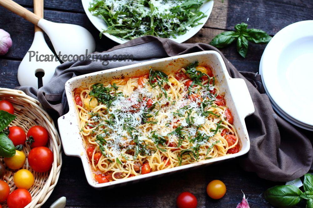 Спагетти+с+печеными+помидорами+черри