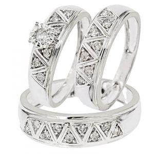 1 2 Carat Diamond Trio Wedding Ring Set 14k White Gold Antique Wedding Rings Wedding Ring Trio Wedding Ring Trio Sets
