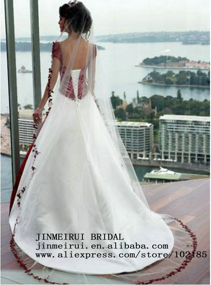 Red And White Wedding Dresses Cap Sleeve Ball Gown Corset