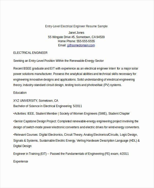 Entry Level Electrical Engineer Resume Elegant College Essay Writing Samples In 2020 Engineering Resume Templates Engineering Resume Resume
