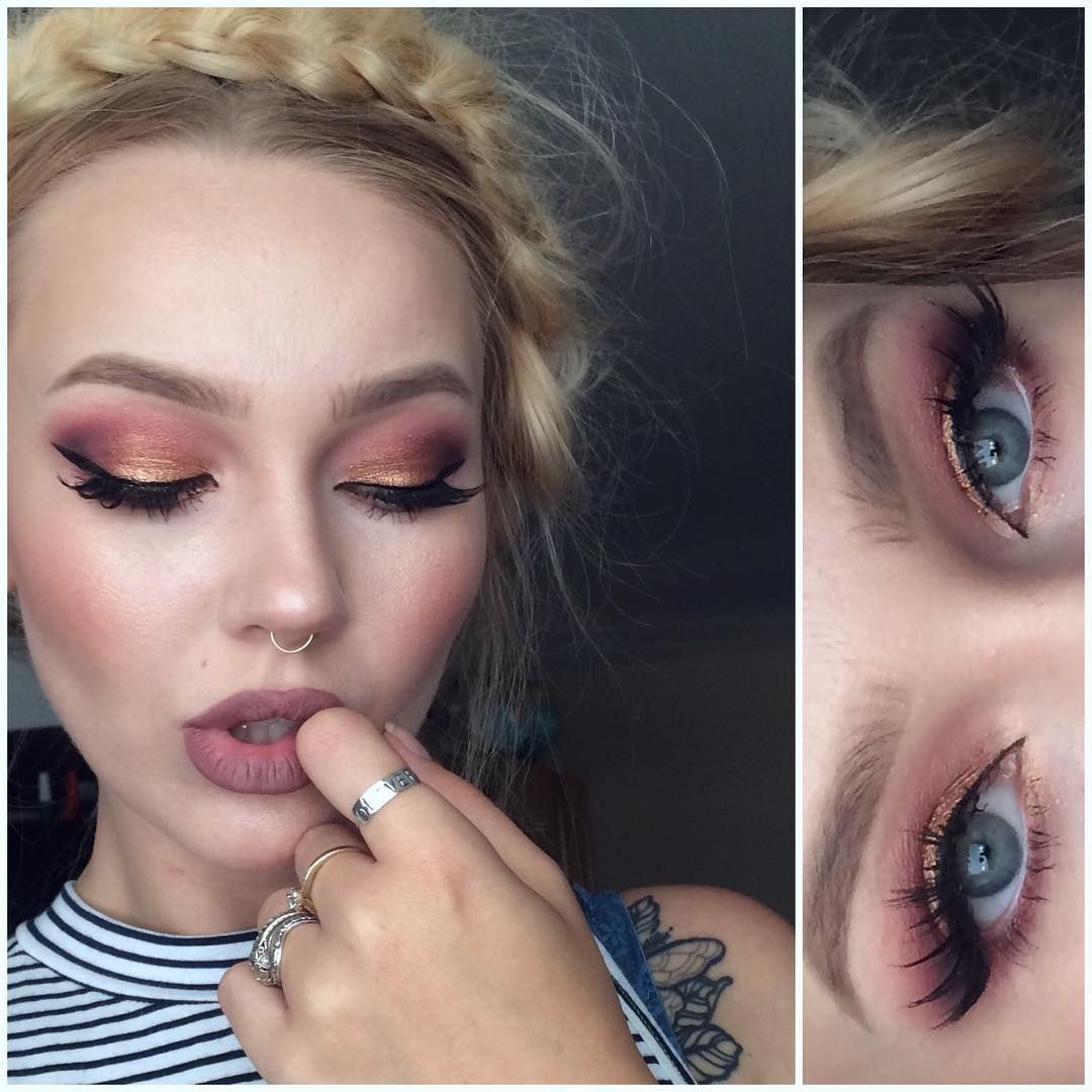 """warm eyes today using #meltcosmetics #lovesickstack shadows in """"amelie"""" & """"love sick""""  #sugarpill loose eyeshadow in """"penelope"""" on the lid  #lenalashes in """"naomi""""  lips are #lasplash in """"ghoulish""""  HAPPY PRE-FRIDAY! ❤️"""