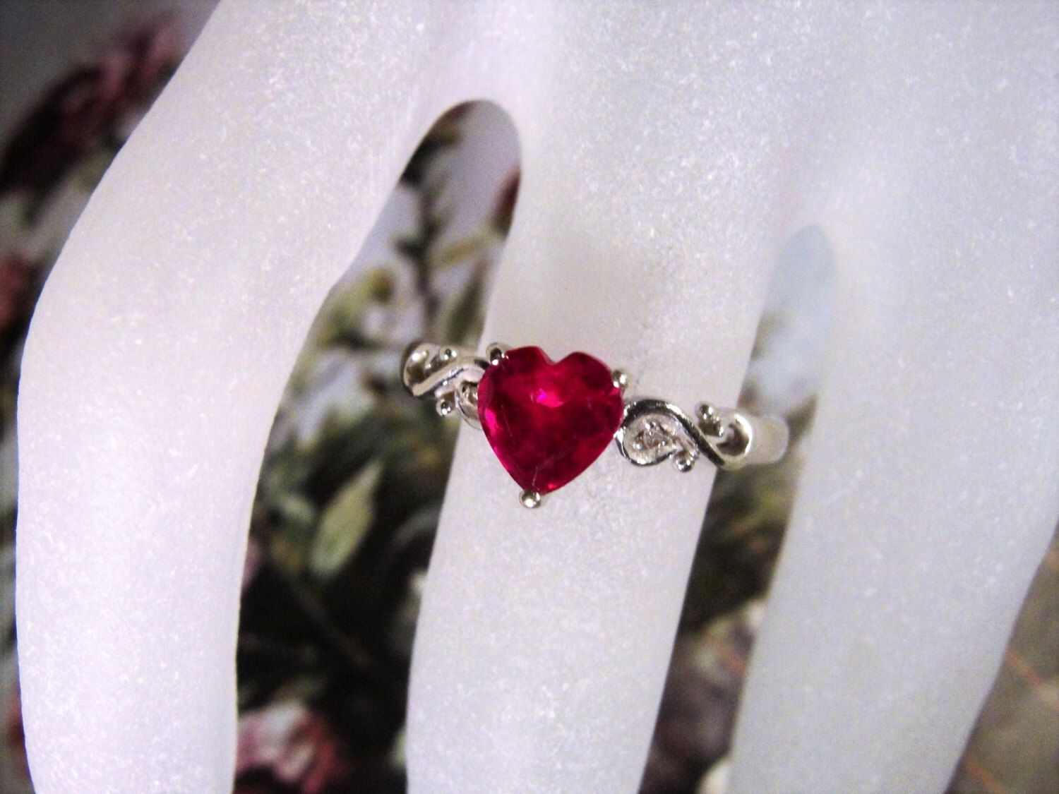 10k Ruby Heart Ring White Gold Ring Ruby Heart Ring Ruby Red Ring Heart With Diamonds Ring White Gold Ruby Ring Ruby Ring Size 7 White Gold Ruby Ring Ruby