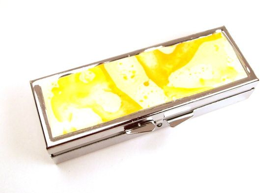 Sunshine Yellow Pill Box Upcycled Melted by InstinctivelyIndie, $17.00