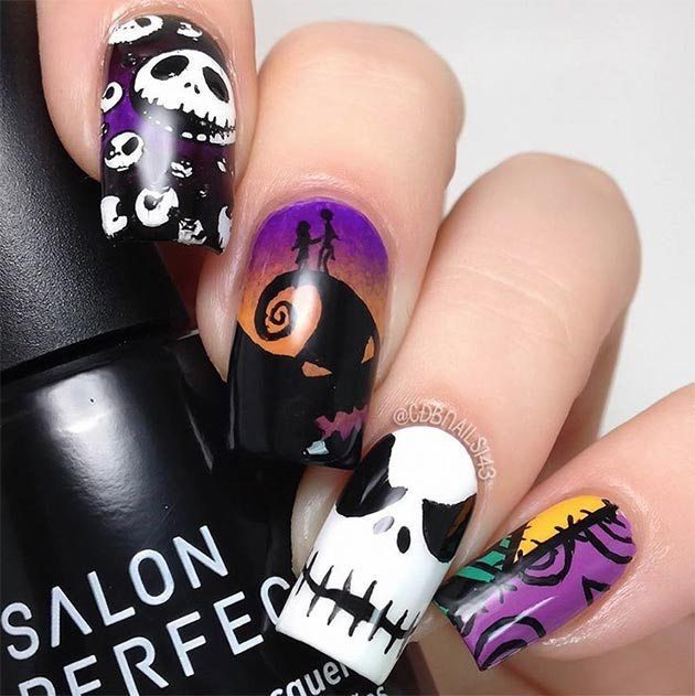 80 Cute Halloween Nail Art Ideas You Can Do At Home Ecstasycoffee Cute Halloween Nails Holloween Nails Halloween Nail Designs