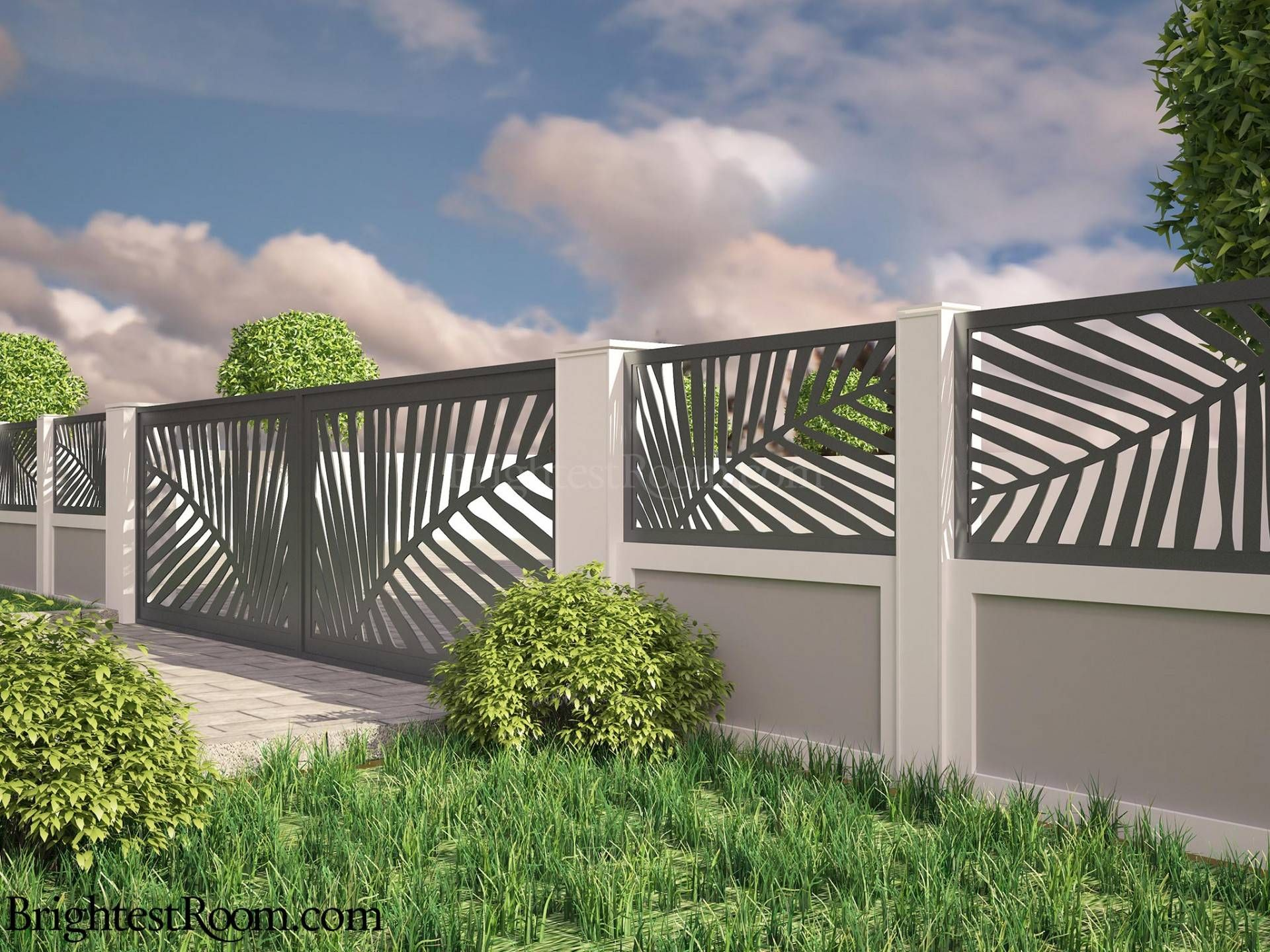 palm leaves mild steel laser cut gate and fence gate fence